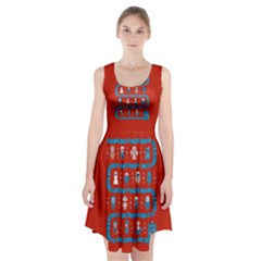 Who Is Outside Ugly Holiday Christmas Red Background Racerback Midi Dress