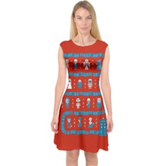Who Is Outside Ugly Holiday Christmas Red Background Capsleeve Midi Dress
