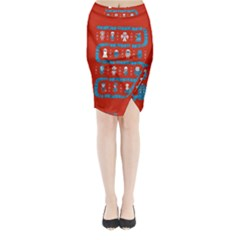 Who Is Outside Ugly Holiday Christmas Red Background Midi Wrap Pencil Skirt