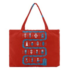 Who Is Outside Ugly Holiday Christmas Red Background Medium Tote Bag