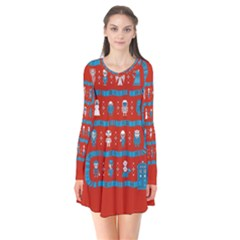 Who Is Outside Ugly Holiday Christmas Red Background Flare Dress