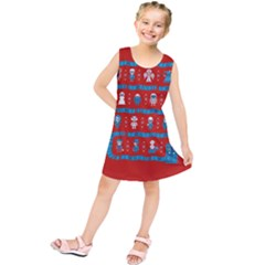 Who Is Outside Ugly Holiday Christmas Red Background Kids  Tunic Dress