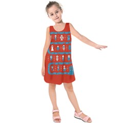 Who Is Outside Ugly Holiday Christmas Red Background Kids  Sleeveless Dress