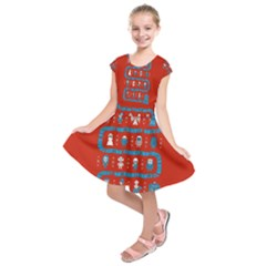 Who Is Outside Ugly Holiday Christmas Red Background Kids  Short Sleeve Dress