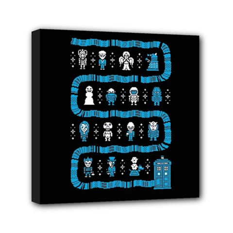 Who Is Outside Ugly Holiday Christmas Black Background Mini Canvas 6  X 6