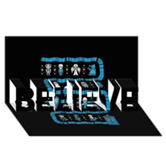 Who Is Outside Ugly Holiday Christmas Black Background BELIEVE 3D Greeting Card (8x4)
