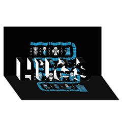 Who Is Outside Ugly Holiday Christmas Black Background HUGS 3D Greeting Card (8x4)