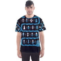 Who Is Outside Ugly Holiday Christmas Black Background Men s Sport Mesh Tee