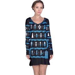 Who Is Outside Ugly Holiday Christmas Black Background Long Sleeve Nightdress