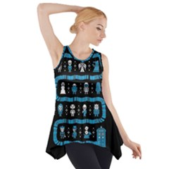 Who Is Outside Ugly Holiday Christmas Black Background Side Drop Tank Tunic