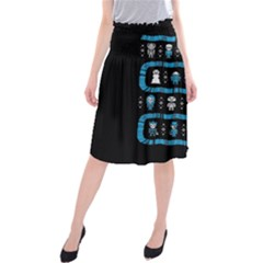 Who Is Outside Ugly Holiday Christmas Black Background Midi Beach Skirt