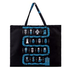 Who Is Outside Ugly Holiday Christmas Black Background Zipper Large Tote Bag