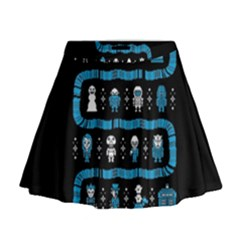 Who Is Outside Ugly Holiday Christmas Black Background Mini Flare Skirt