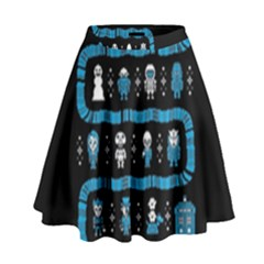 Who Is Outside Ugly Holiday Christmas Black Background High Waist Skirt