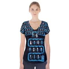 Who Is Outside Ugly Holiday Christmas Black Background Short Sleeve Front Detail Top