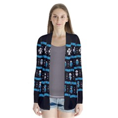 Who Is Outside Ugly Holiday Christmas Black Background Drape Collar Cardigan