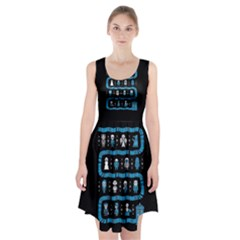 Who Is Outside Ugly Holiday Christmas Black Background Racerback Midi Dress