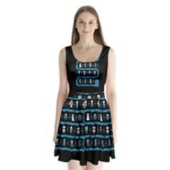 Who Is Outside Ugly Holiday Christmas Black Background Split Back Mini Dress