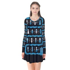 Who Is Outside Ugly Holiday Christmas Black Background Flare Dress