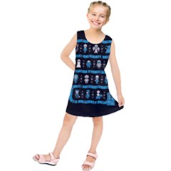 Who Is Outside Ugly Holiday Christmas Black Background Kids  Tunic Dress