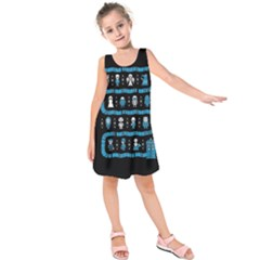 Who Is Outside Ugly Holiday Christmas Black Background Kids  Sleeveless Dress