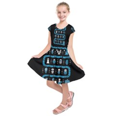 Who Is Outside Ugly Holiday Christmas Black Background Kids  Short Sleeve Dress
