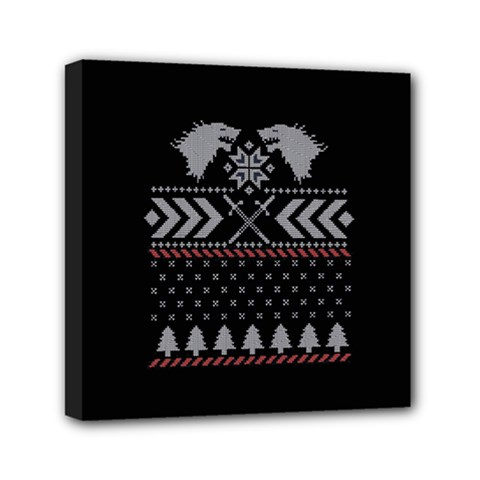 Winter Is Coming Game Of Thrones Ugly Christmas Black Background Mini Canvas 6  x 6