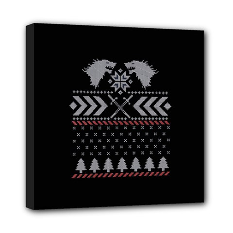 Winter Is Coming Game Of Thrones Ugly Christmas Black Background Mini Canvas 8  x 8