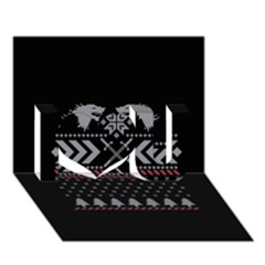 Winter Is Coming Game Of Thrones Ugly Christmas Black Background I Love You 3d Greeting Card (7x5)