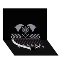 Winter Is Coming Game Of Thrones Ugly Christmas Black Background Heart Bottom 3d Greeting Card (7x5)