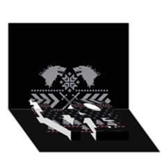 Winter Is Coming Game Of Thrones Ugly Christmas Black Background LOVE Bottom 3D Greeting Card (7x5)