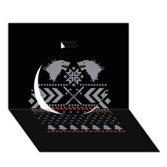 Winter Is Coming Game Of Thrones Ugly Christmas Black Background Circle 3D Greeting Card (7x5)