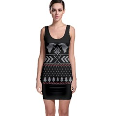 Winter Is Coming Game Of Thrones Ugly Christmas Black Background Sleeveless Bodycon Dress
