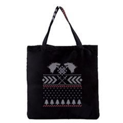 Winter Is Coming Game Of Thrones Ugly Christmas Black Background Grocery Tote Bag