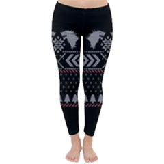 Winter Is Coming Game Of Thrones Ugly Christmas Black Background Classic Winter Leggings