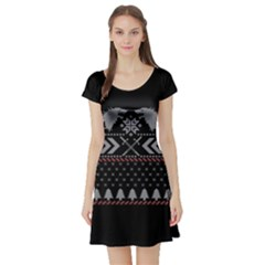 Winter Is Coming Game Of Thrones Ugly Christmas Black Background Short Sleeve Skater Dress