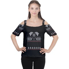 Winter Is Coming Game Of Thrones Ugly Christmas Black Background Women s Cutout Shoulder Tee