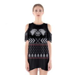 Winter Is Coming Game Of Thrones Ugly Christmas Black Background Cutout Shoulder Dress