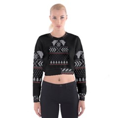 Winter Is Coming Game Of Thrones Ugly Christmas Black Background Women s Cropped Sweatshirt