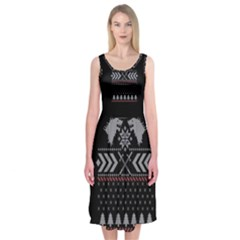 Winter Is Coming Game Of Thrones Ugly Christmas Black Background Midi Sleeveless Dress