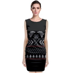 Winter Is Coming Game Of Thrones Ugly Christmas Black Background Classic Sleeveless Midi Dress