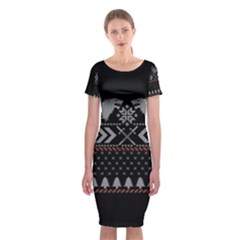Winter Is Coming Game Of Thrones Ugly Christmas Black Background Classic Short Sleeve Midi Dress