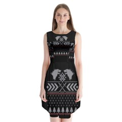 Winter Is Coming Game Of Thrones Ugly Christmas Black Background Sleeveless Chiffon Dress