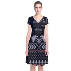 Winter Is Coming Game Of Thrones Ugly Christmas Black Background Short Sleeve Front Wrap Dress