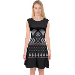 Winter Is Coming Game Of Thrones Ugly Christmas Black Background Capsleeve Midi Dress