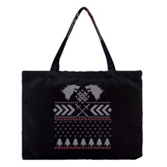 Winter Is Coming Game Of Thrones Ugly Christmas Black Background Medium Tote Bag