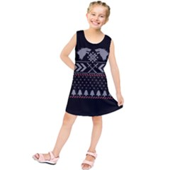 Winter Is Coming Game Of Thrones Ugly Christmas Black Background Kids  Tunic Dress