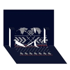 Winter Is Coming Game Of Thrones Ugly Christmas Blue Background I Love You 3d Greeting Card (7x5)