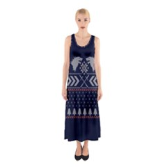Winter Is Coming Game Of Thrones Ugly Christmas Blue Background Sleeveless Maxi Dress