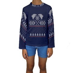 Winter Is Coming Game Of Thrones Ugly Christmas Blue Background Kids  Long Sleeve Swimwear